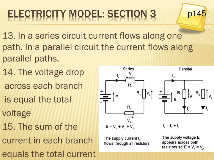 13. In a series circuit current flows along one path. In a parallel circuit the current flows along parallel paths.