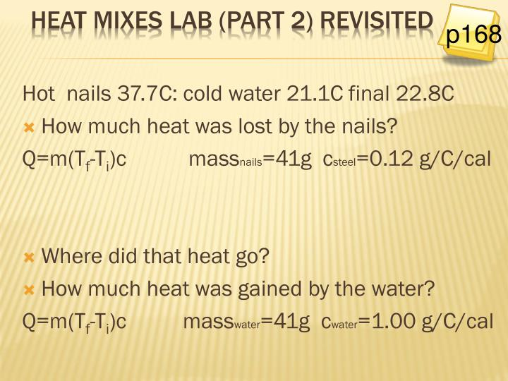 Hot  nails 37.7C: cold water 21.1C final 22.8C