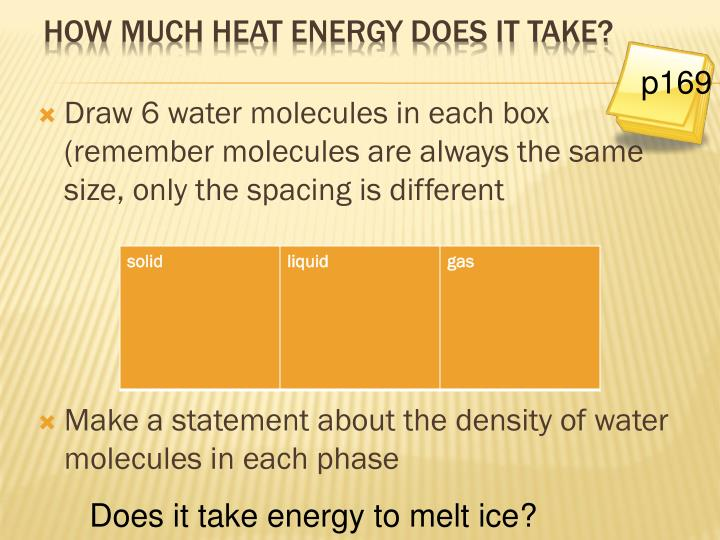 Draw 6 water molecules in each box (remember molecules are always the same size, only the spacing is different
