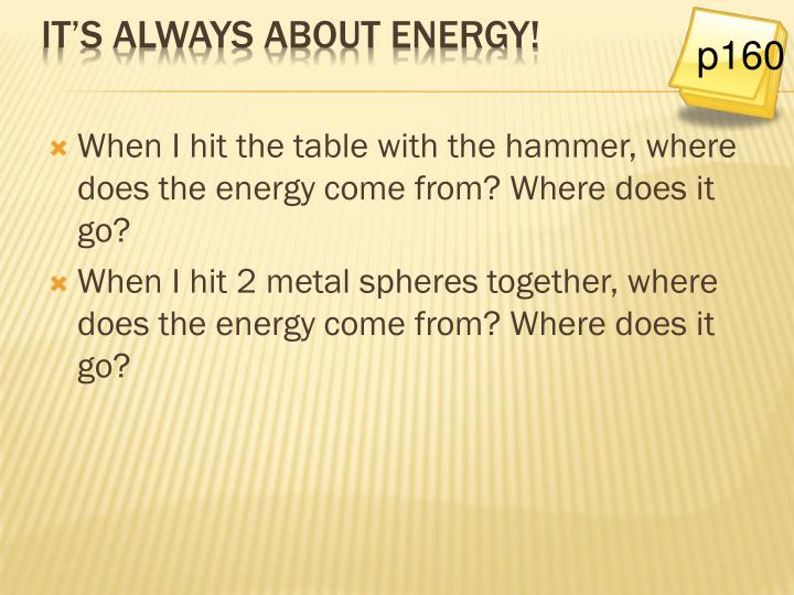 When I hit the table with the hammer, where does the energy come from? Where does it go?