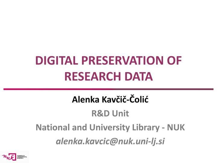 digital preservation of research data n.