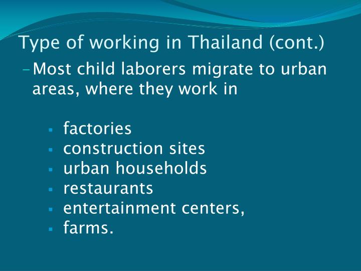 Type of working in Thailand (cont.)