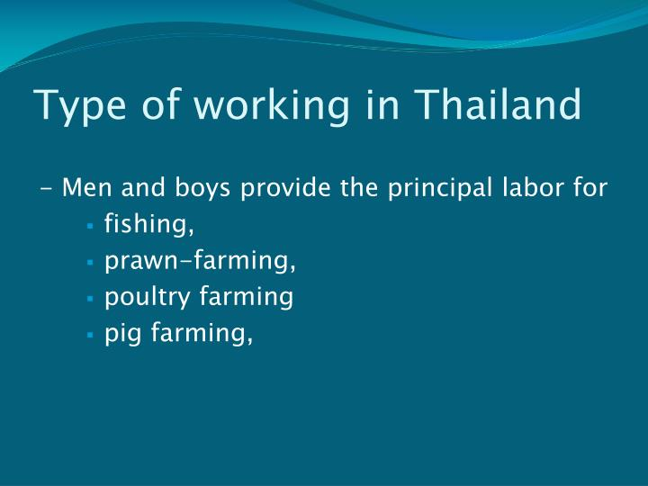 Type of working in Thailand