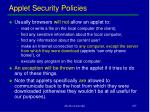 applet security policies