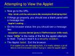 attempting to view the applet