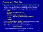 create an html file
