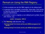 remark on using the rmi registry