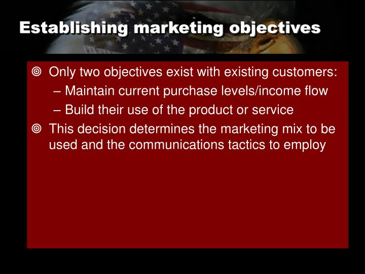 Establishing marketing objectives
