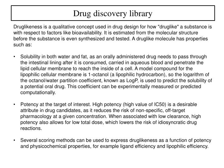 Drug discovery library