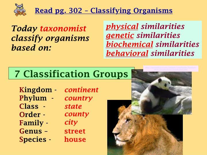 Read pg. 302 – Classifying Organisms