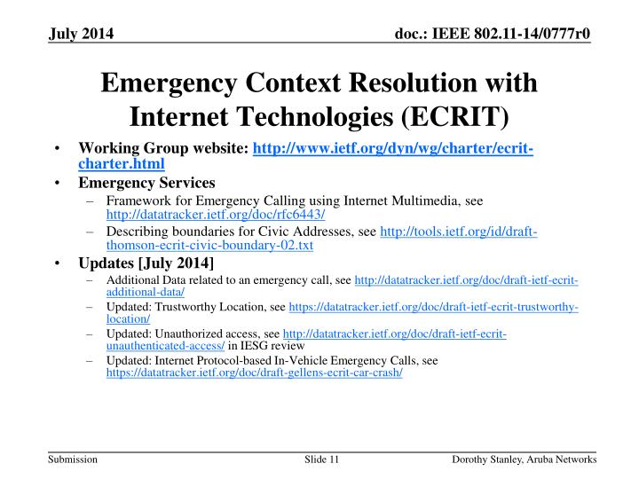 Emergency Context Resolution with Internet Technologies (ECRIT)