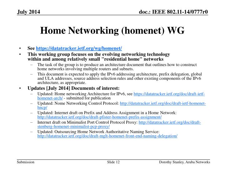 Home Networking (homenet) WG