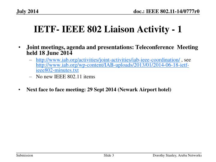 Ietf ieee 802 liaison activity 1
