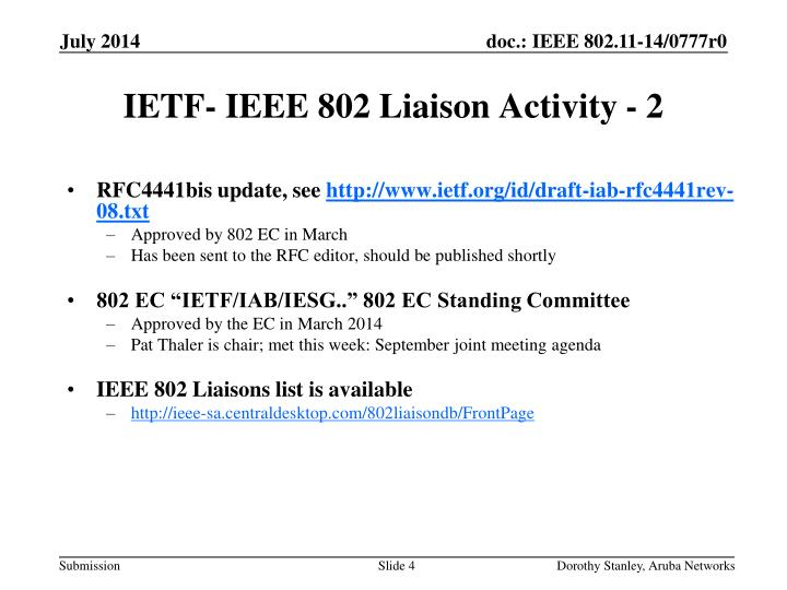 IETF- IEEE 802 Liaison Activity - 2