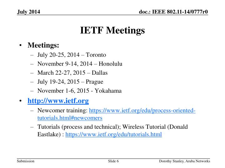 IETF Meetings