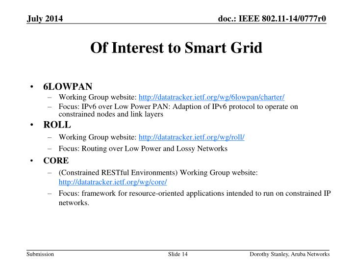 Of Interest to Smart Grid