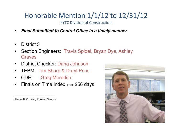 Honorable Mention 1/1/12