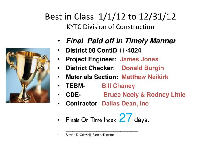 Best in Class  1/1/12 to 12/31/12