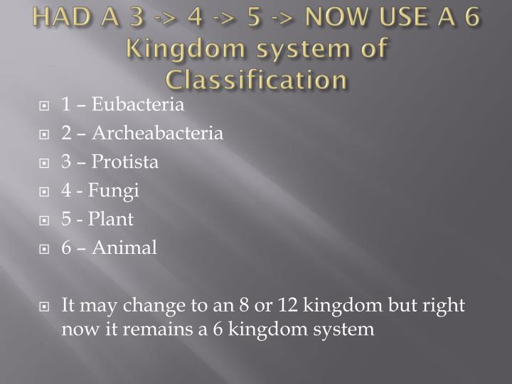 HAD A 3 -> 4 -> 5 -> NOW USE A 6 Kingdom system of Classification