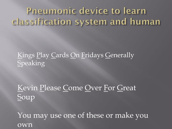 Pneumonic device to learn classification system and human