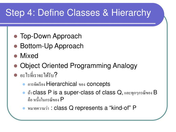 Step 4: Define Classes & Hierarchy