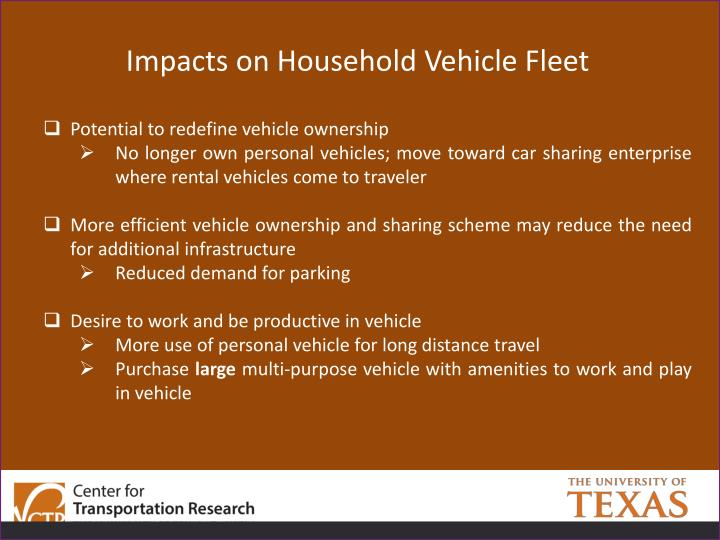 Impacts on Household Vehicle Fleet