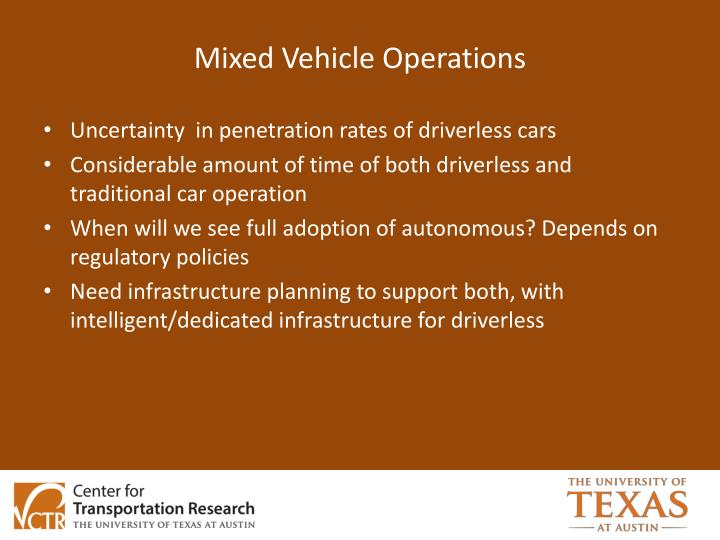 Mixed Vehicle Operations