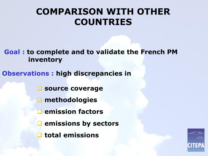 COMPARISON WITH OTHER COUNTRIES