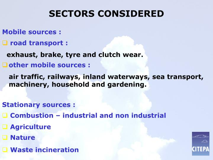 Sectors considered