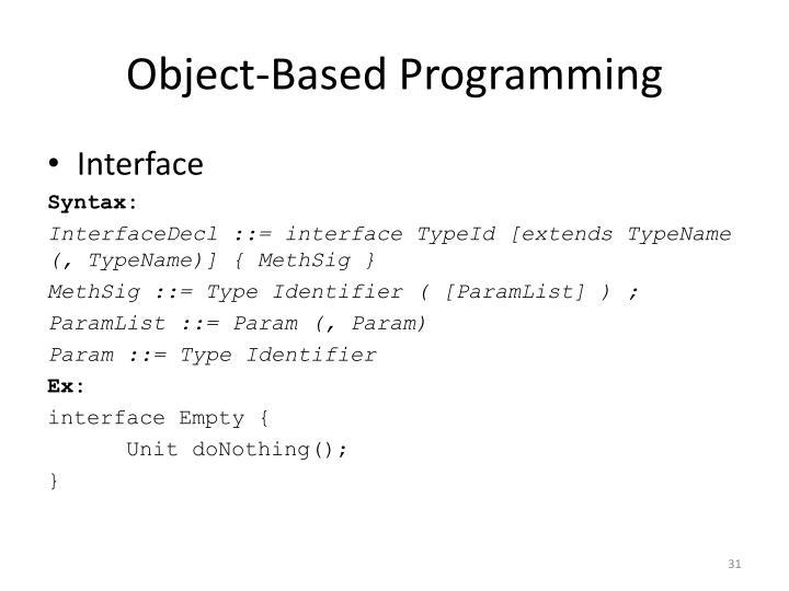 Object-Based Programming
