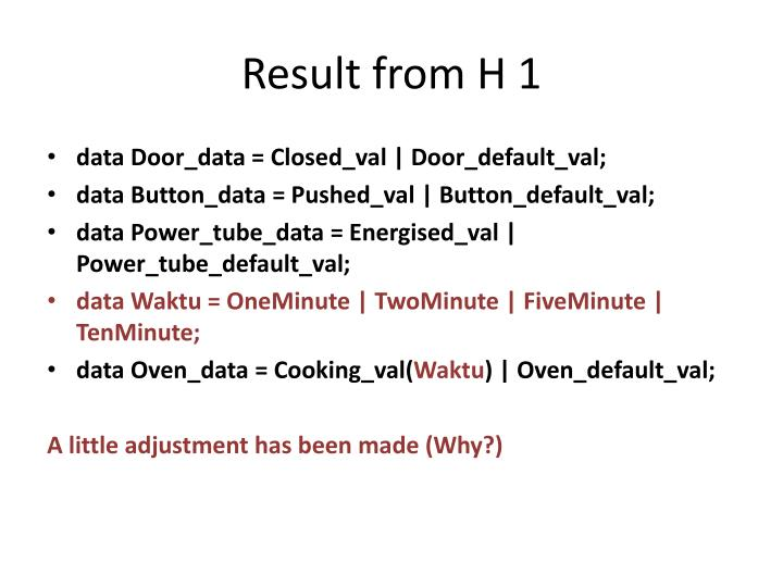 Result from H 1