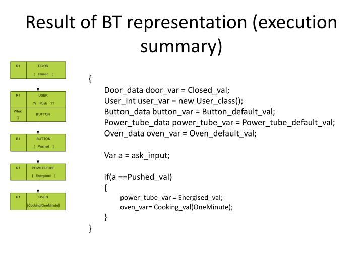 Result of BT representation (execution summary)
