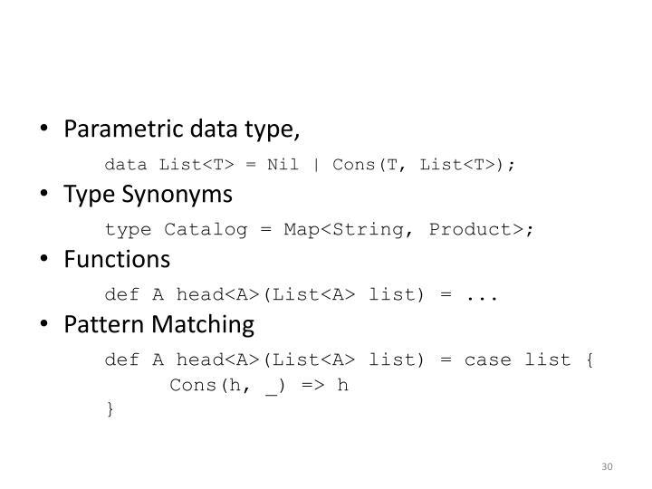 Parametric data type,