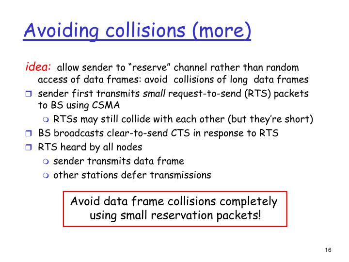 Avoiding collisions (more)