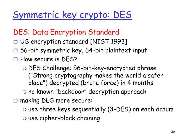 Symmetric key crypto: DES