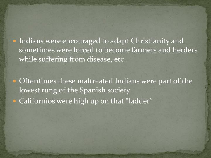Indians were encouraged to adapt Christianity and sometimes were forced to become farmers and herders while suffering from disease, etc.