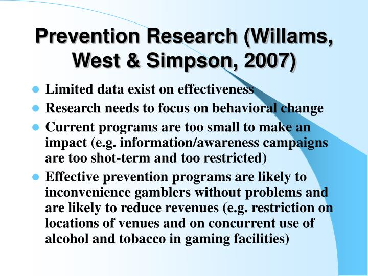 Prevention Research (Willams, West & Simpson, 2007)