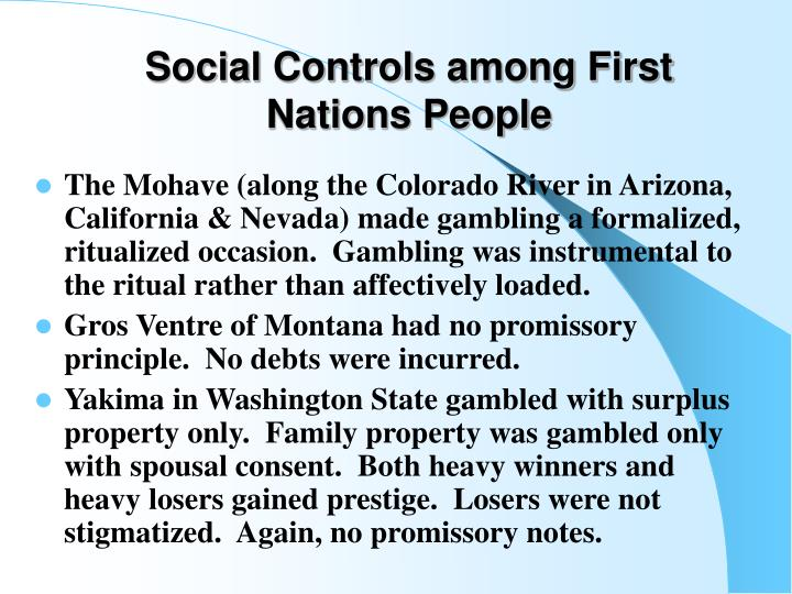 Social Controls among First Nations People