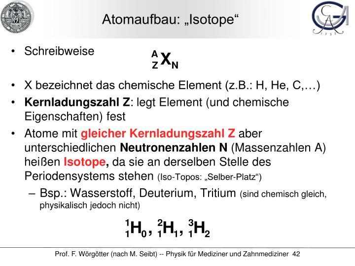 """Atomaufbau: """"Isotope"""""""