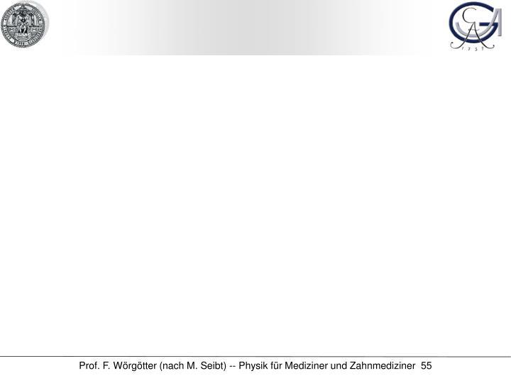 Prof. F. Wörgötter (nach M. Seibt) -- Physik für Mediziner und Zahnmediziner