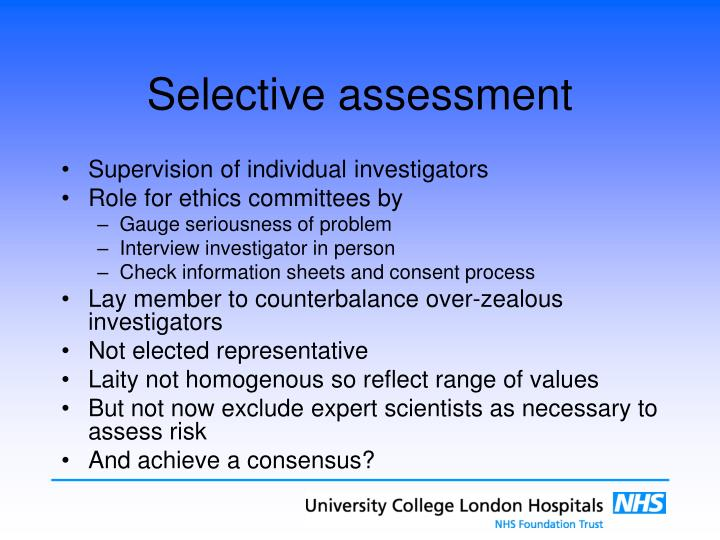 Selective assessment