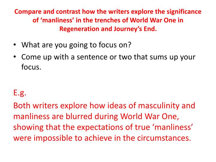 Compare and contrast how the writers explore the significance of 'manliness' in the trenches of World War One in Regeneration and Journey's End.