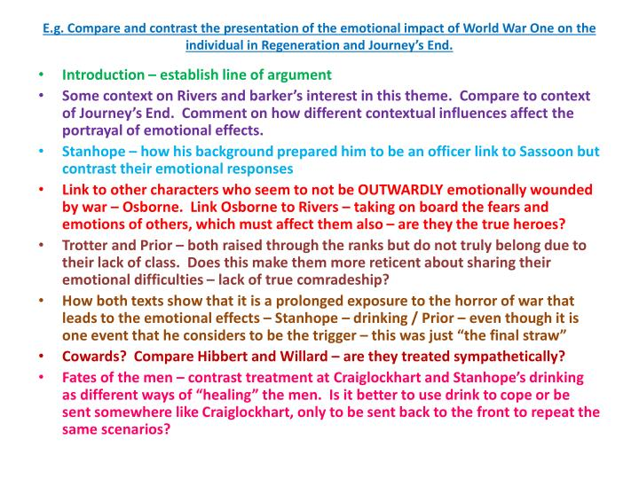 E.g. Compare and contrast the presentation of the emotional impact of World War One on
