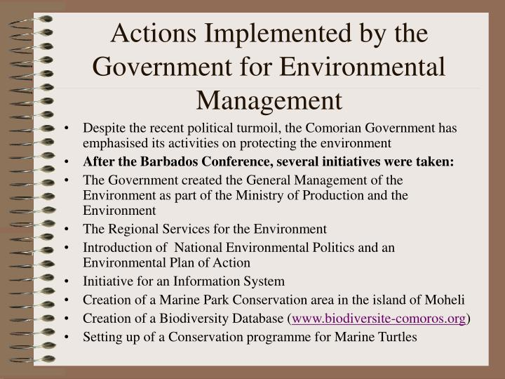 Actions Implemented by the Government for Environmental Management