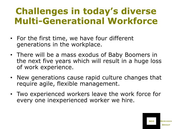 Challenges in today's diverse Multi-Generational Workforce