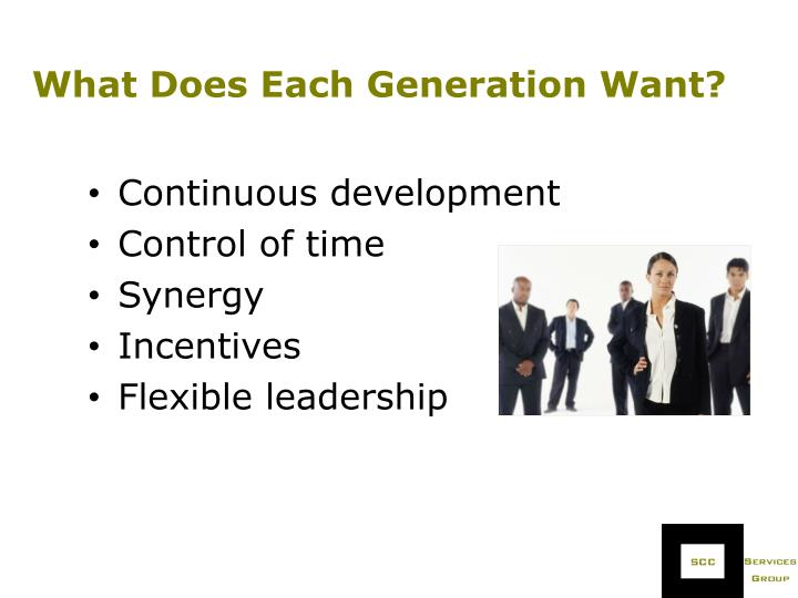 What Does Each Generation Want?