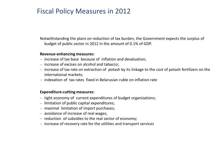 Fiscal Policy Measures in 2012