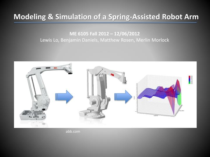 Modeling & Simulation of a Spring-Assisted Robot Arm
