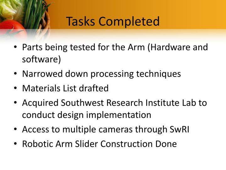 Tasks completed