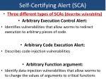 self certifying alert sca